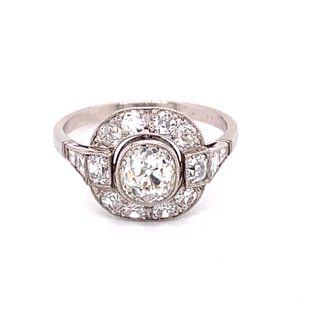 Art Deco Platinum Diamond Engagement RingÊ