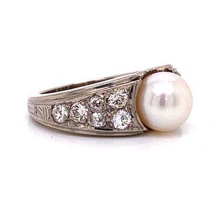 Platinum Diamond Pearl RingÊ