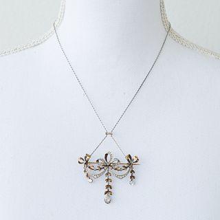 Edwardian Platinum 18k Diamond Pendant BroochÊ