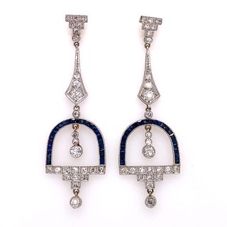 Platinum Sapphire Diamond Drop EarringsÊ