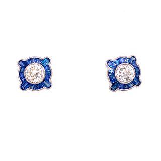 Platinum Diamond Sapphire Target EarringsÊ