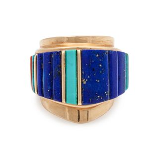 Charles Loloma (Hopi, 1921-1991) 14k Gold with Turquoise, Lapis, and Coral Cobblestone Inlay RingLot is located and will ship from Denver, Colorado