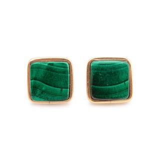 Charles Loloma (Hopi, 1921-1991) Yellow Gold and Malachite EarringsLot is located and will ship from Denver, Colorado.