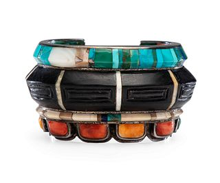 Evelyn (Eveli) Sabatie (Moroccan, b. 1940) Silver Cuff Bracelet, with Mosaic Inlay on Interior and Exterior Lot is located and will ship from Denver,