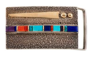 Verma Nequatewa, Sonwai (Hopi, b. 1946) Silver and Gold Belt Buckle, with InlayLot is located and will ship from Denver, Colorado