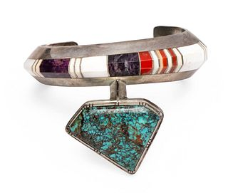 Gibson Nez (Jicarilla Apache-Dine, 1947-2007) Sterling Silver and Channel Inlay Cuff Bracelet Lot is located and will ship from Denver, Colorado