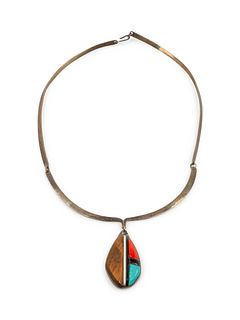 Richard Chavez (San Felipe, b. 1949) Silver Choker, with Ironwood, Turquoise, and Coral Inlay PendantLot is located and will ship from Denver, Colorad