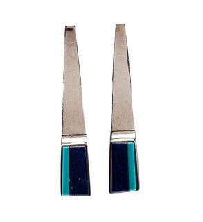 Richard Chavez (San Felipe, b.1949) Silver Post Earrings, with Turquoise and Lapis InlayLot is located and will ship from Denver, Colorado