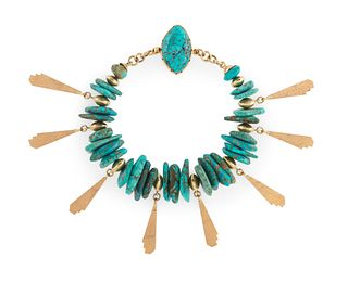 Don Supplee (Hopi, b. 1965) 14k Gold and Turquoise Bracelet Lot is located and will ship from Denver, Colorado