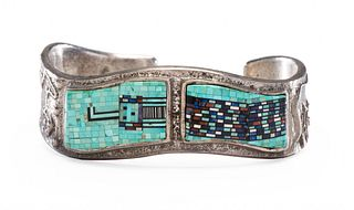 Carl and Irene Clark (Dine, b. 1952 and b. 1950) Sterling Silver Cuff Bracelet, with Micro Mosaic Inlay Lot is located and will ship from Denver, Colo