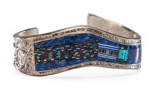 Carl and Irene Clark (Dine, b. 1952 and b. 1950) Sterling Silver Cuff, with Micro Mosaic Inlay Lot is located and will ship from Denver, Colorado