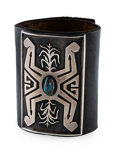 Phillip Sekaquaptewa (Hopi, 1948-2003) Silver Overlay Ketoh, with Turquoise Lot is located and will ship from Denver, Colorado