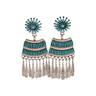 Edith Tsabetsaye (Zuni, b. 1940) Silver Earrings, with Petit Point TurquoiseLot is located and will ship from Denver, Colorado.