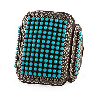 Matthew Charley  (Dine, 21st Century) Stamped Silver and Petit Point Turquoise Ketoh Lot is located and will ship from Denver, Colorado