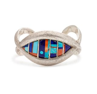 Philander Begay (Dine, b. 1982) Tufa Cast Cuff, with Turquoise, Coral and Lapis InlayLot is located and will ship from Denver, Colorado.