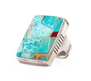Robert Sorrell (Dine, 20th Century) Sterling Silver Ring, with Turquoise and Coral Mosaic Inlay Lot is located and will ship from Denver, Colorado
