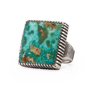 Robert Sorrell (Dine, 20th Century) Sterling Silver Ring, with Blue Gem Turquoise Cabochon on the Front and Coral Bead on Reverse Lot is located and w
