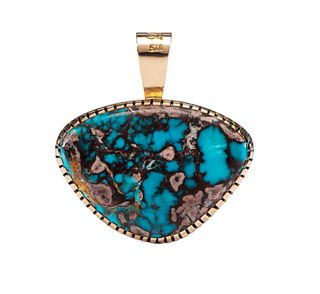 Robert Sorrell (Dine, 20th Century) 14k Gold and Sterling Silver Pendant, with Bisbee Turquoise Lot is located and will ship from Denver, Colorado
