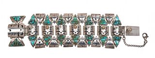 Fernando Benally (Dine, 20th/21st century) Sterling Silver Link Bracelet, with 14k Gold Accents and Mosaic Turquoise InlayLot is located and will ship