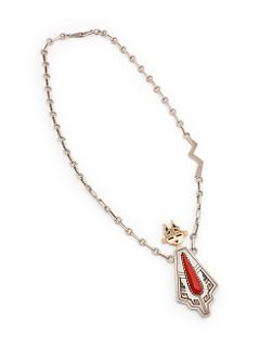 Roy Talahaftewa (Hopi, b. 1955) 14k Gold and Sterling Silver Necklace, with Coral Katsina PendantLot is located and will ship from Denver, Colorado.