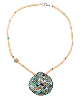 Charlene Sanchez Reano and Frank Reano, Attributed (San Felipe, 20th century) and (Kewa, 20th century) Reversible Inlaid Shell Necklace Lot is located