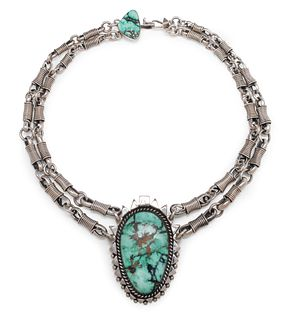 Orville Tsinnie (Dine, 1943-2017) Heavy Sterling Silver Necklace, with Turquoise Pendant Lot is located and will ship from Denver, Colorado