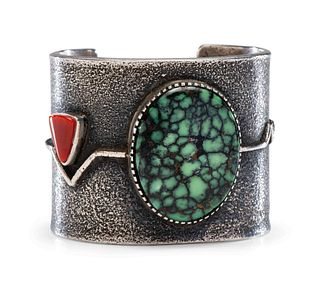 Edison Cummings (Dine, b. 1962) Silver Tufa Cast Cuff Bracelet, with Turquoise and Coral Lot is located and will ship from Denver, Colorado
