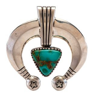 Edison Cummings (Dine, b. 1962) Sand Cast Silver Naja, with Turquoise Cabochon Lot is located and will ship from Denver, Colorado