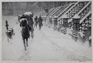 "Martin Lewis (1881 - 1962) ""Stoops in the Snow"""