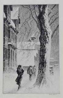 """Martin Lewis (1881-1962) """"Winter on White Street"""""""