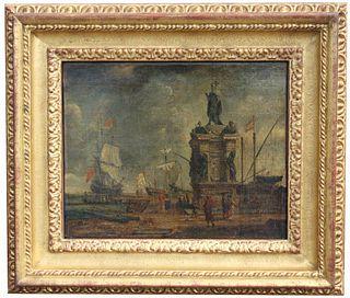 Old Master Italian Harbor Scene w/ Figures