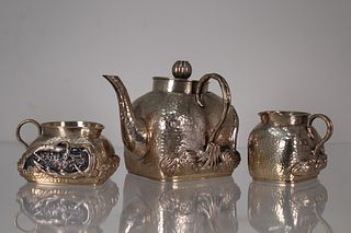 Signed, Chinese Hand Hammered 3 pc Silver Set