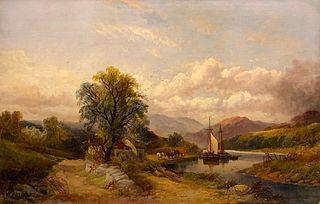 Joseph Horlor Oil, Severn River, Wales, c.1870
