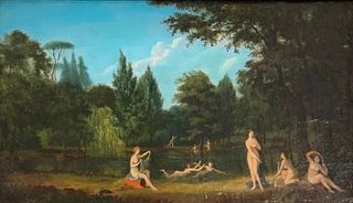 Early 19thc. Continental School Oil, Bathing Nymphs