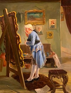 D.W. Ballon Large Oil, Collector in Studio