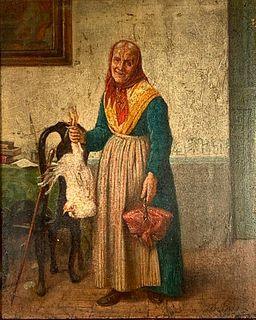 19thc. Continental School Oil, Old Woman