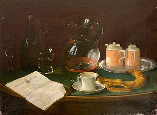 19thc. German School Oil, Still Life with Morning Paper