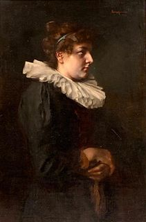 19thc. German or Continental School Oil, Portrait of a Woman