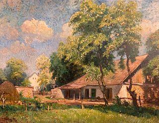 Hungarian School Oil, Farm Scene