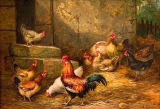 August Laux Oil, Chickens Feeding