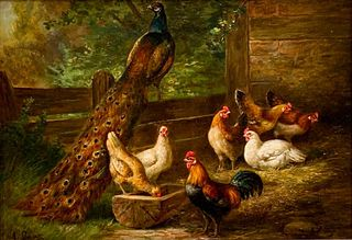August Laux Oil, Barnyard with Peacock