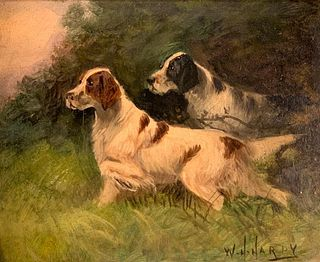 W.H.Hardy Oil, Setter Dogs on Point