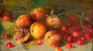 Italian School Oil, Still Life with Cherries and Grasshopper