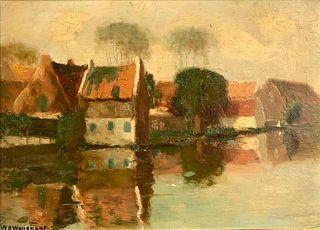 Willem Abraham Wassenaar Oil, Village on River