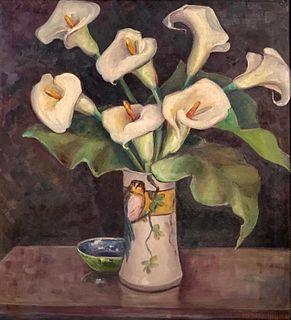 Mildred Hinten Oil, Still Life of Calla Lillies