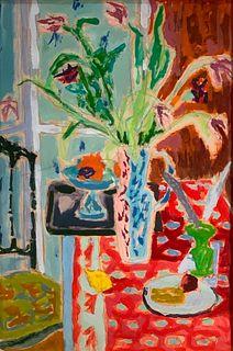 Jean Jules Louis Cavailles Oil, Vase de Fleurs
