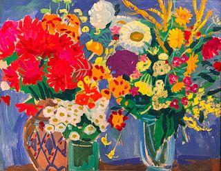 Sergei Missan Oil, Still Life of Flowers,c.1963