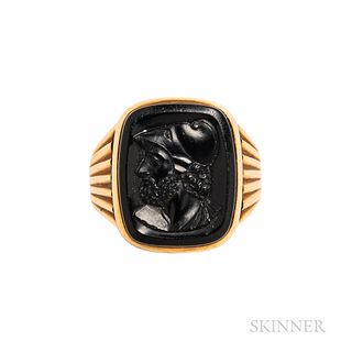 Antique 14kt Gold and Hardstone Cameo Ring
