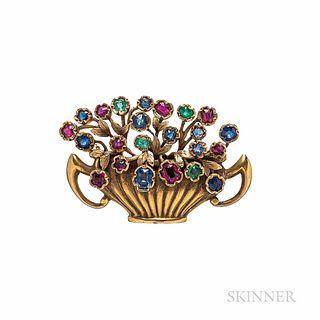Antique Combes & van Roden 14kt Gold Gem-set Flower Basket Brooch