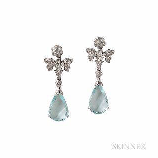 18kt White Gold, Aquamarine, and Diamond Earrings
